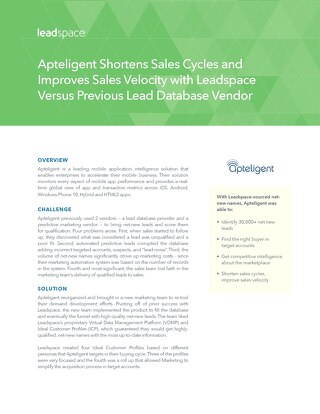 Apteligent Shortens Sales Cycles and Improves Sales Velocity with Leadspace