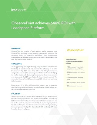 ObservePoint achieves 640% ROI with Leadspace Platform