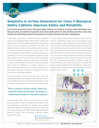 Simplicity in Airflow Generation for Class II Biological Safety Cabinets Improves Safety and Reliability