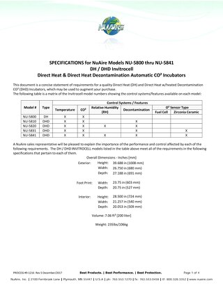 NU-5800 Series Specification (115V)