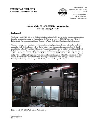 NU-480-600E Decontamination Process Testing Results