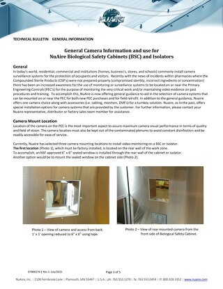 Camera Useage Information for Biosafety Cabinets and Pharmacy Isolators