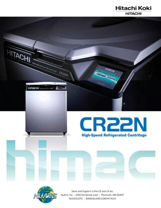 Hitachi CR22N High Speed Centrifuge Brochure