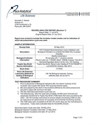 NU-5800 Series Decontamation Validation Report