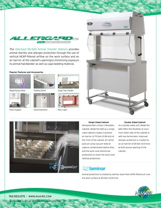 AllerGard NU-620 Animal Trasfer Station Product Sheet