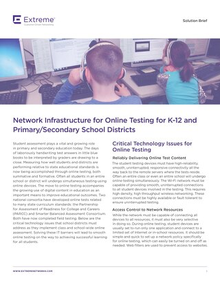 Network Infrastructure for Online Testing for K-12 and Primary/Secondary School Districts