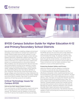 BYOD Campus Solution Guide for Higher Education K-12 and Primary/Secondary School Districts
