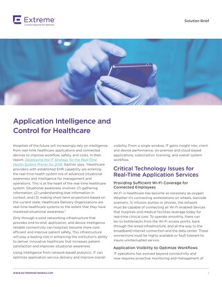 Application Intelligence and Control for Healthcare