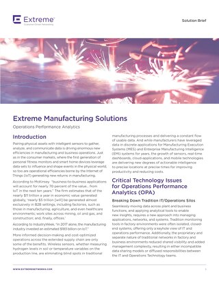 Manufacturing Operations Performance Analytics