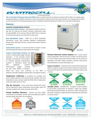 In-VitroCell NU-5700 Series CO2 Incubator Product Flyer