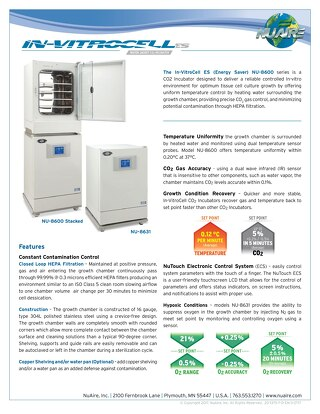 In-VitroCell NU-8600 CO2 Incubator Product Flyer