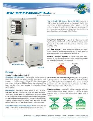 [Flyer] In-VitroCell NU-8600 CO2 Incubator Product Flyer