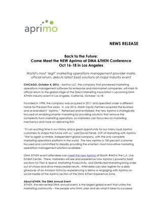 Back to the Future: Come Meet the NEW Aprimo at DMA &THEN Conference