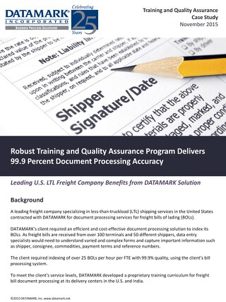 Training and Quality Assurance Case Study