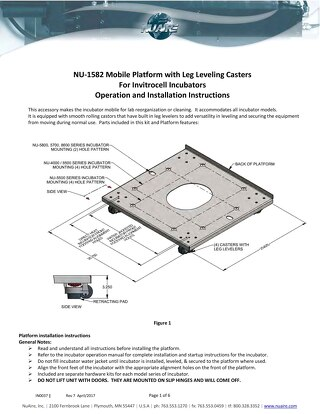 [Instructions] NU-1582 Mobile Platform with Leg Leveling Casters for CO2 Incubators