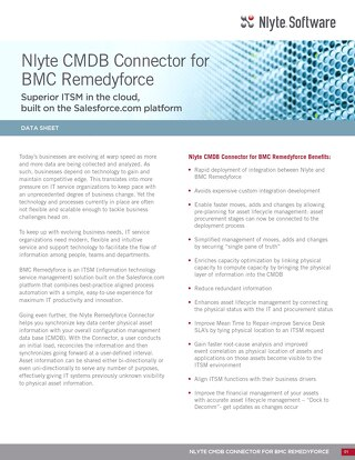 Nlyte CMDB Connector For BMC Remedyforce Data Sheet