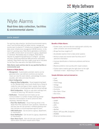 Nlyte Alarms Data Sheet