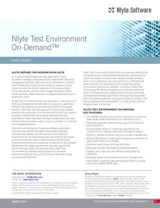 Nlyte Test Environment On -Demand Data Sheet