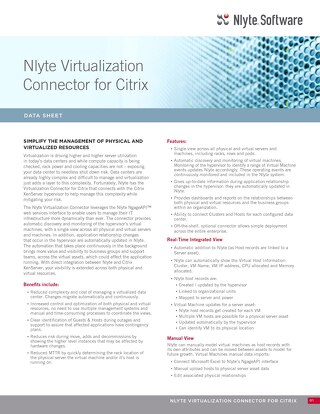 Nlyte Virtualization Connector for Citrix Data Sheet