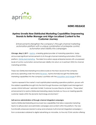 Aprimo Unveils New Distributed Marketing Capabilities