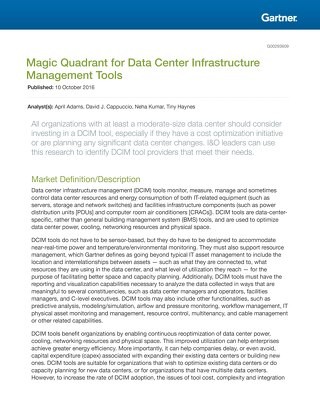 Gartner Magic Quadrant For Data Centers 2016