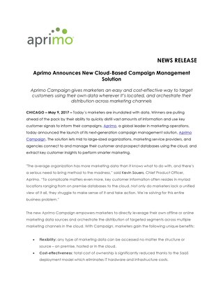 Aprimo Announces New Cloud-Based Campaign Management Solution