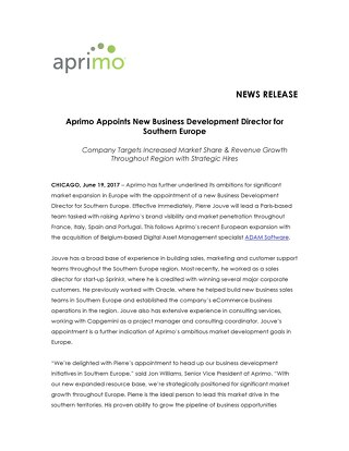 Aprimo Appoints New Business Development Director for Southern Europe