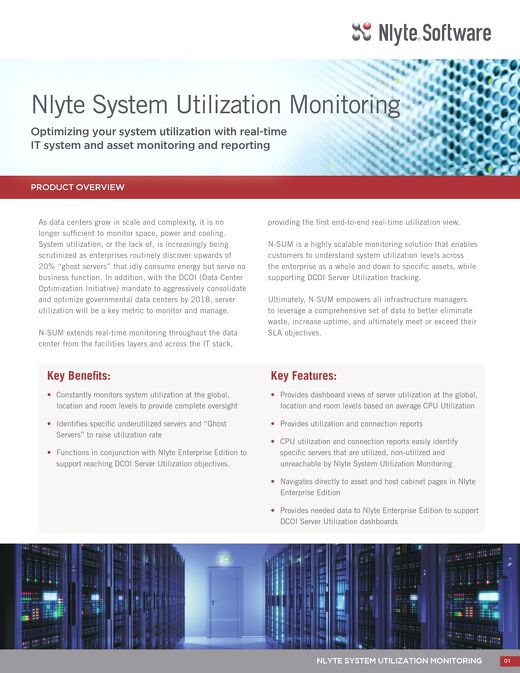 Nlyte System Utilization Monitoring Product Overview