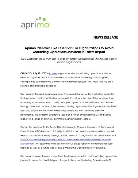 Aprimo Identifies Five Essentials To Avoid Marketing Operations