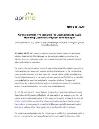 Aprimo Identifies Five Essentials For Organizations to Avoid Marketing Operations Mayhem in Latest Report