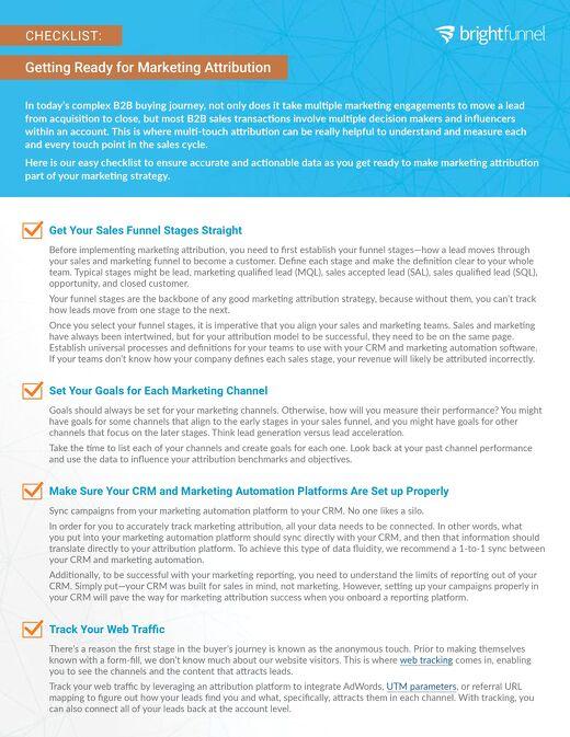 Cheatsheet: Getting Ready for Marketing Attribution