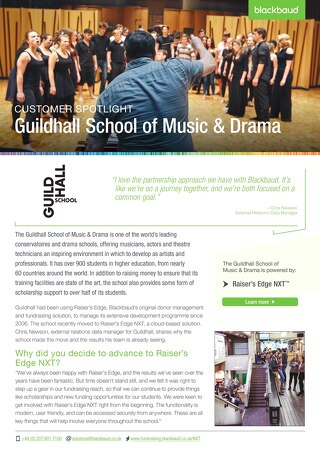 Guildhall School of Music and Drama | Raiser's Edge NXT