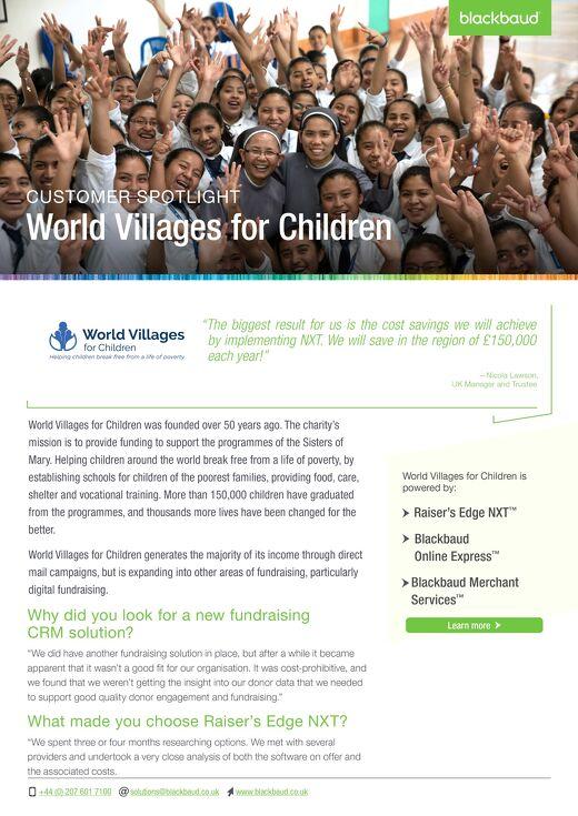 World Villages for Children | Raiser's Edge NXT
