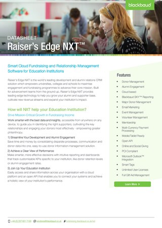 Raisers Edge NXT Datasheet Education