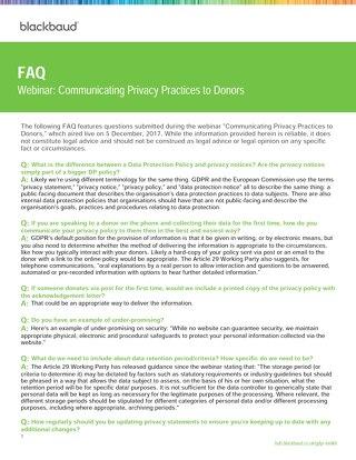 Blackbaud - Webinar FAQ GDPR