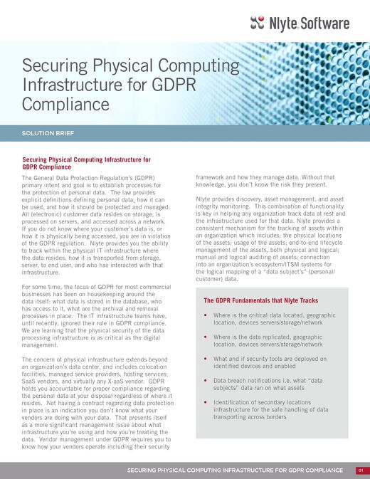 Securing Physical Computing Infrastructure for GDPR Compliance DataSheet