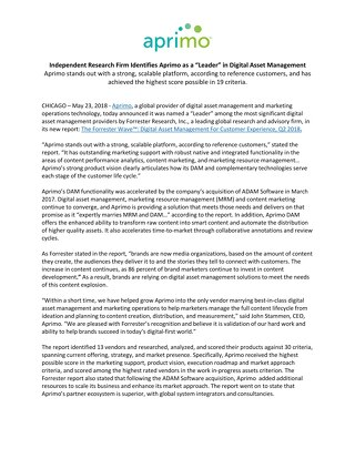 "Independent Research Firm Identifies Aprimo as a ""Leader"" in Digital Asset Management"