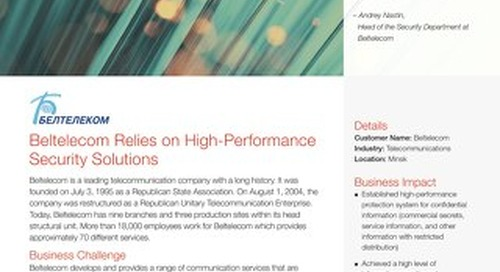 Beltelecom Relies on High-Performance Security Solutions