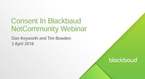Consent in Blackbaud NetCommunity Webinar