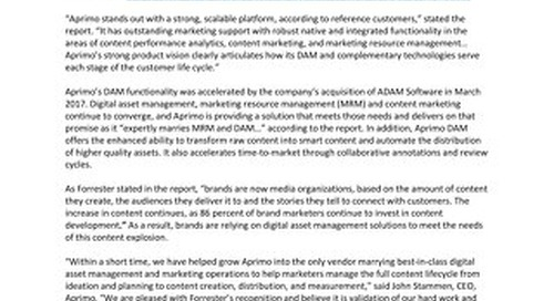 """Independent Research Firm Identifies Aprimo as a """"Leader"""" in Digital Asset Management"""