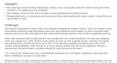 How A10 Capital Managed Data Entry in their Fast-Paced Sales Environment with RingLead