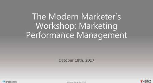 The Modern Marketer's Workshop: Marketing Performance Management