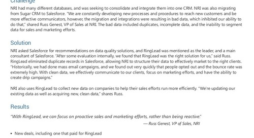 Learn How NRI Saw Sales Growth With RingLead