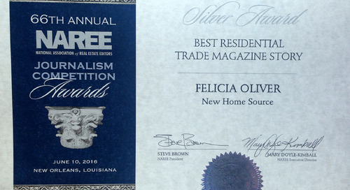 New Home Source Wins Silver Award in The National Association of Real Estate Editors' 66th Annual Journalism Awards