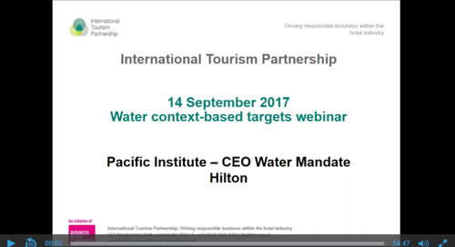 Webinar: Water context-based targets from the International Tourism Partnership