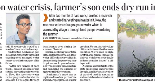 Taking on water crisis, farmer's son ends dry run in village