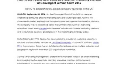 Aprimo Showcases New Distributed Channel Marketing Platform at Convergent Summit South 2016