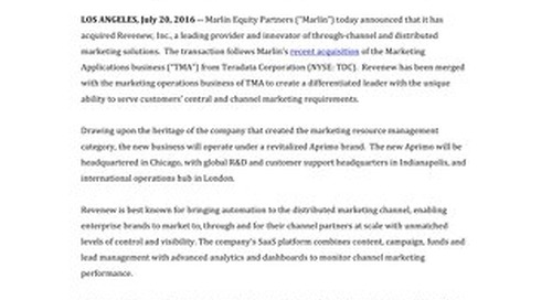 Marlin Completes Acquisition of Revenew and Announces the Relaunch of Aprimo Brand