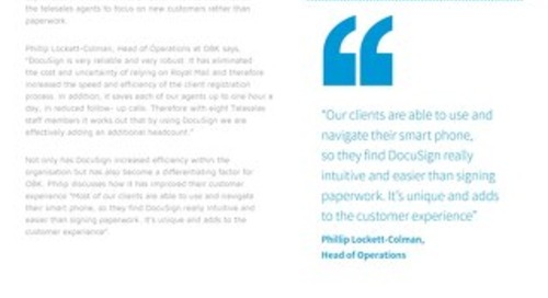 OBK Creates a Unique Customer Experience with DocuSign