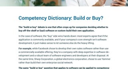 Competency Dictionary - Build or Buy